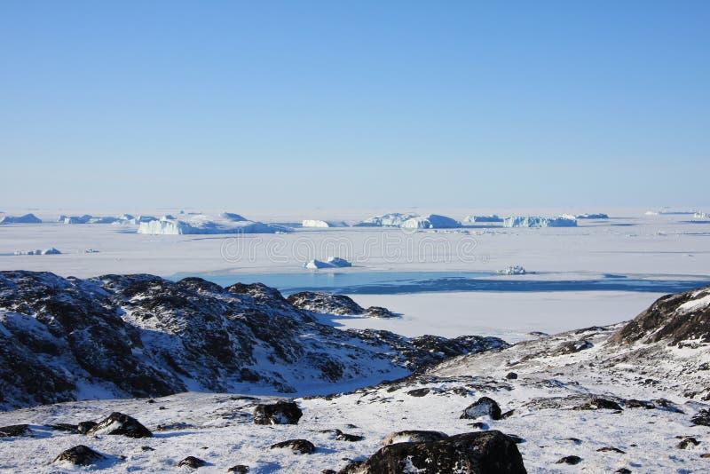 Bevroren Overzees en NoordpoolToendra, Groenland royalty-vrije stock foto's