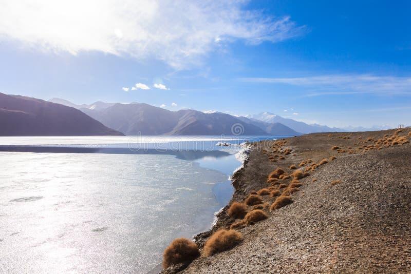 Bevroren Pangong-Meer royalty-vrije stock foto's