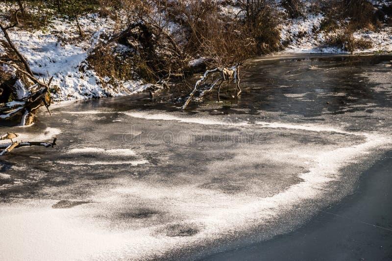Bevroren rivier stock afbeelding