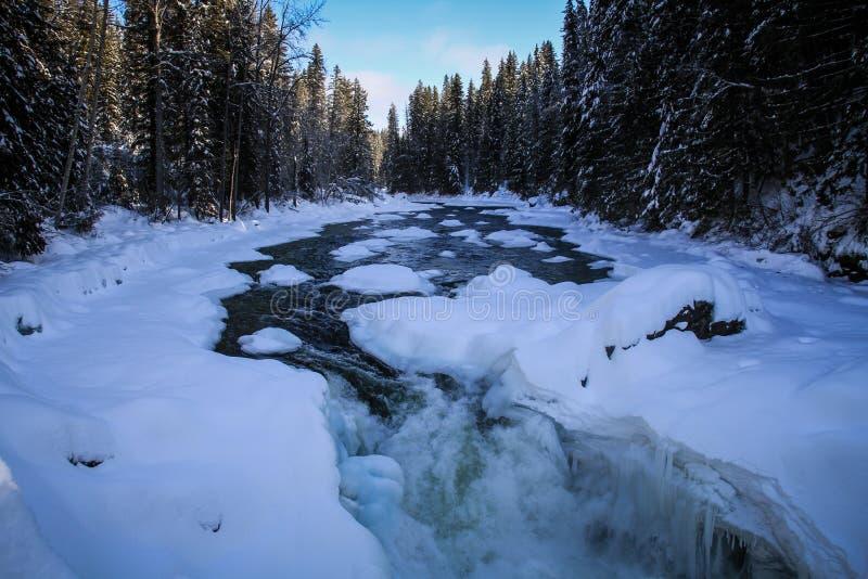 Bevroren rivier terwijl Roadtripping in de majestuous Rotsachtige Bergen tussen Jaspis en Alberta op Alberta Highway 93, Alberta, royalty-vrije stock foto's