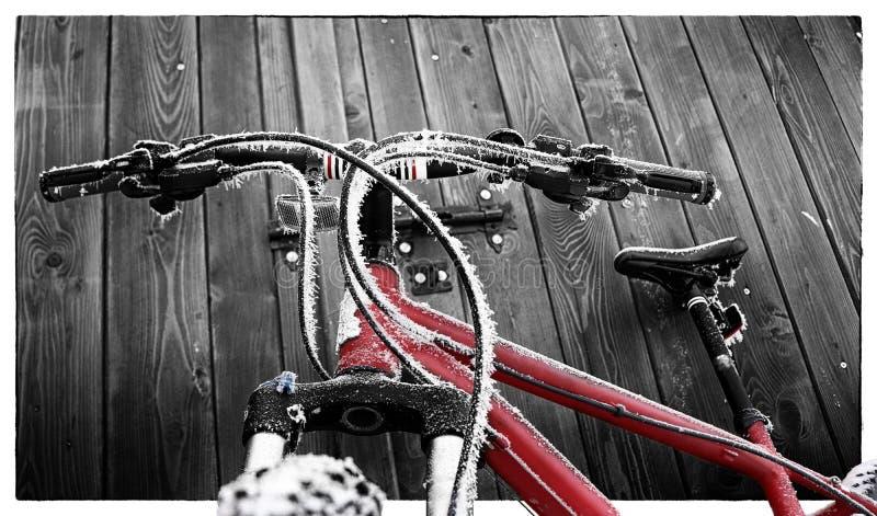 Bevroren, Rode Fiets royalty-vrije stock foto