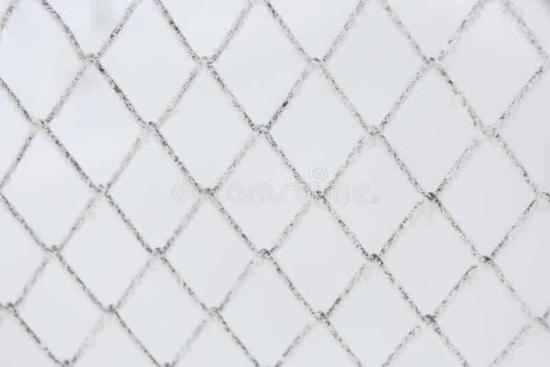 Bevroren roosteromheining Sneeuw behandeld net De winterrijp stock foto