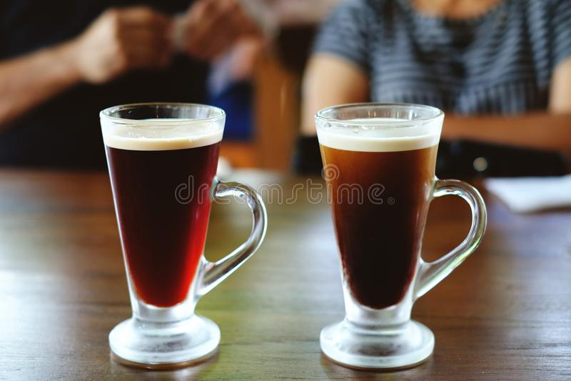 bevroren Thaise thee en bevroren koffie royalty-vrije stock afbeelding