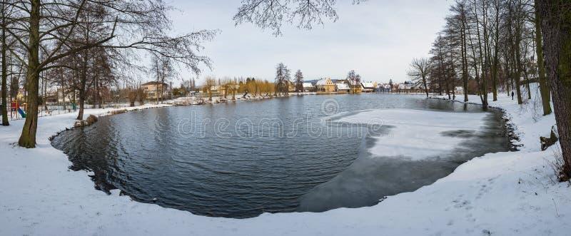 Bevroren vijvermeer in plattelandsdorp van Ustek stock afbeeldingen