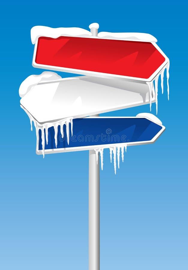 Bevroren voorzie van wegwijzers stock illustratie
