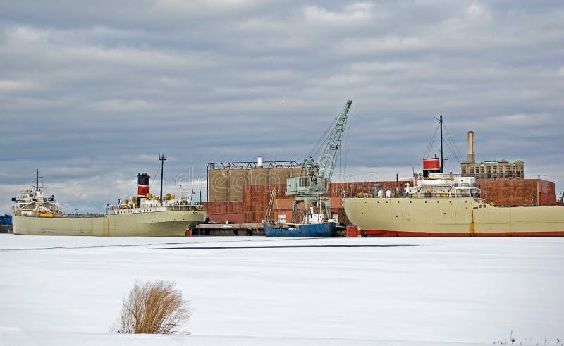 Bevroren Vrachtschip stock foto