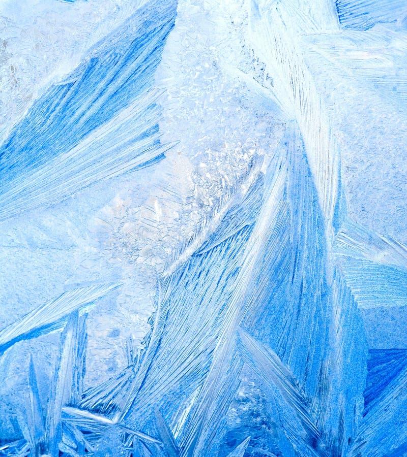 Bevroren water op glas stock afbeelding