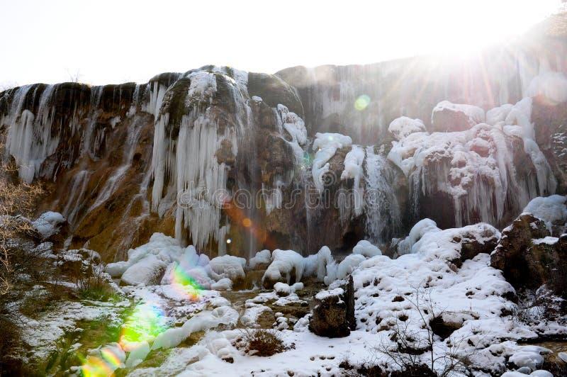 Bevroren waterdaling van Jiuzhaigou, China royalty-vrije stock foto's