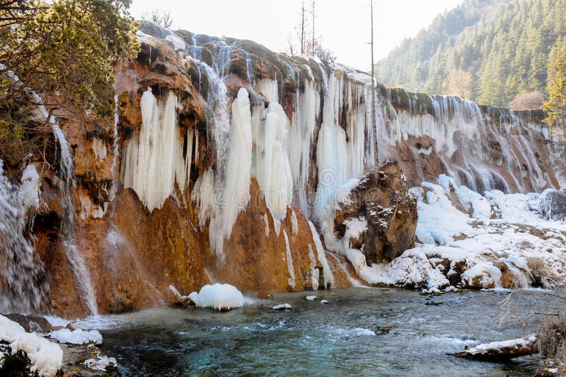 Bevroren waterdaling van Jiuzhaigou, China stock fotografie