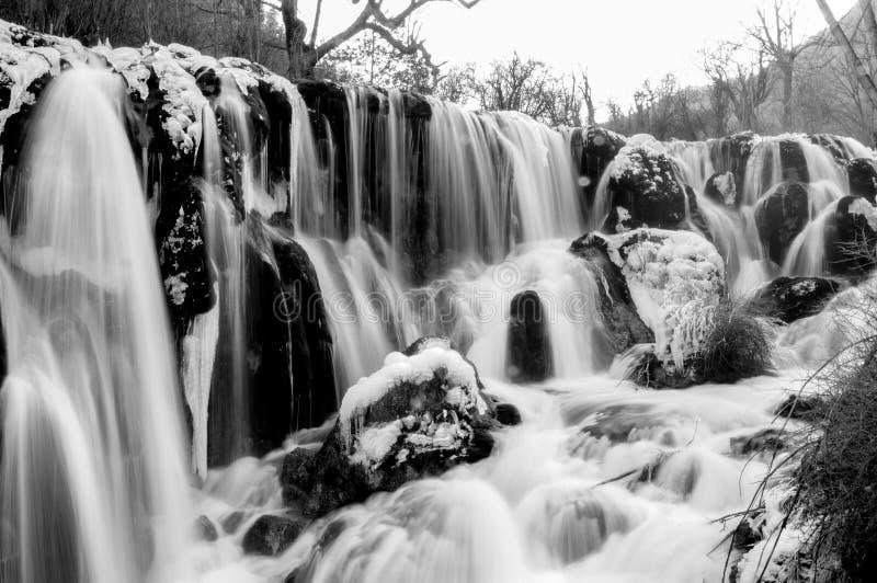 Bevroren waterdaling van Jiuzhaigou, China stock afbeeldingen