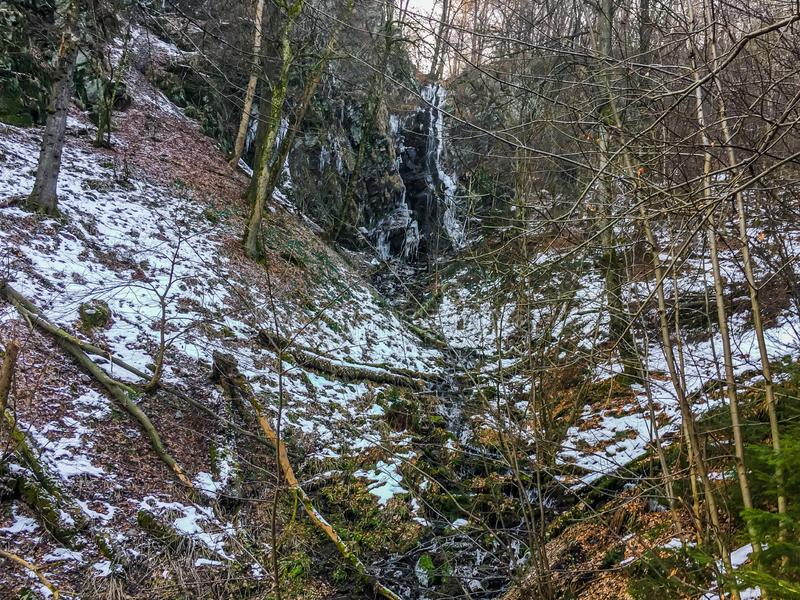 Bevroren waterval met ijskegels en een beetje van stromend water in een boslandschap van Wasserfall Duitsland royalty-vrije stock foto's