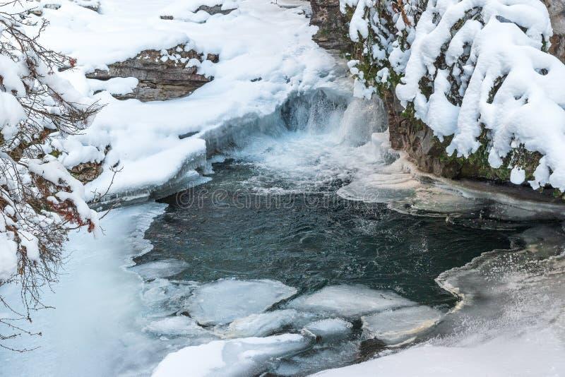 Bevroren watervallen van Johnston Canyon in het Nationale Park van Banff, Canada stock fotografie