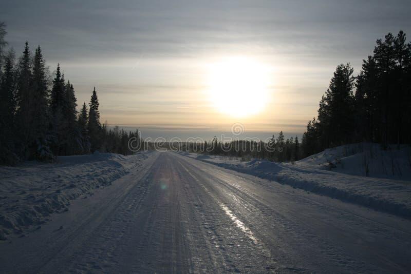 Bevroren weg stock afbeelding
