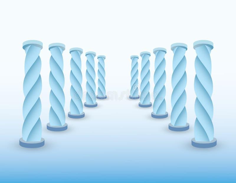 Bevroren weg met ijs blauwe kolommen of pijlers om bestemming voor succes te tonen als het levens en bedrijfs vectorillustratie stock illustratie