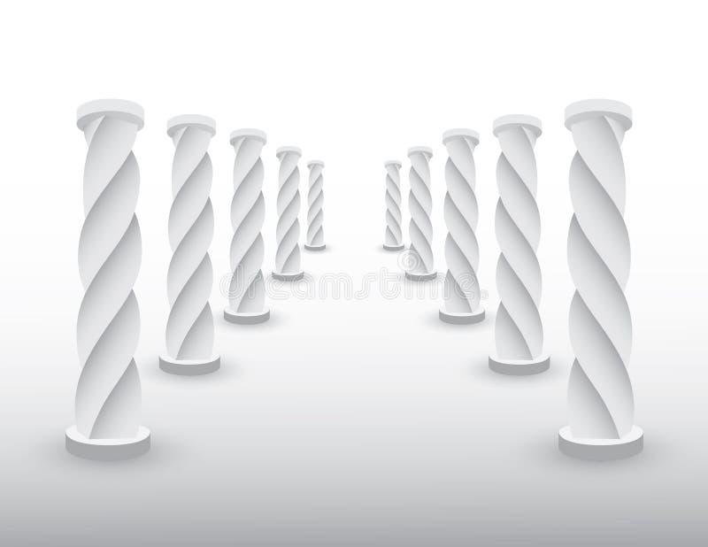 Bevroren weg met witte ijskolommen of pijlers om bestemming voor succes te tonen als het levens en bedrijfs vectorillustratie royalty-vrije illustratie