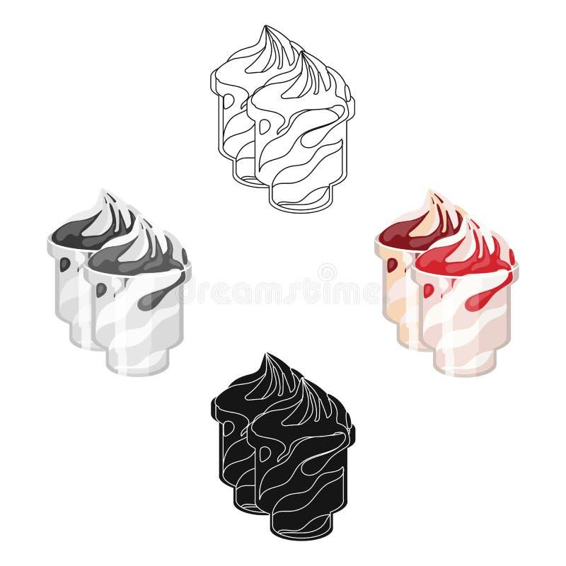 Bevroren yoghurt met stroop in koppenpictogram in beeldverhaal, zwarte stijl die op witte achtergrond wordt geïsoleerd Zuivelprod stock illustratie