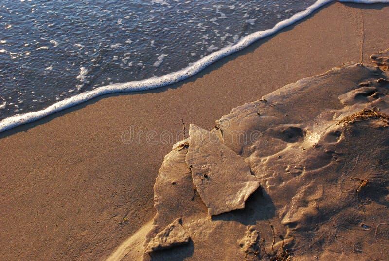 Bevroren zand bij het strand royalty-vrije stock afbeeldingen