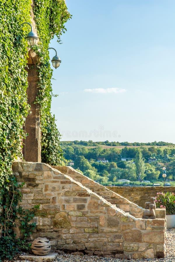 Bevuxen ingång för murgröna till en gammal slott royaltyfri bild