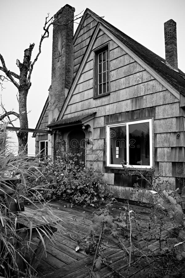 bevuxet övergivet hus arkivbild