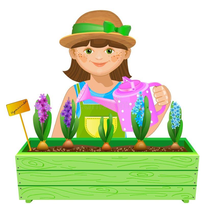 Bewässerungsblumen des Mädchens lizenzfreie abbildung