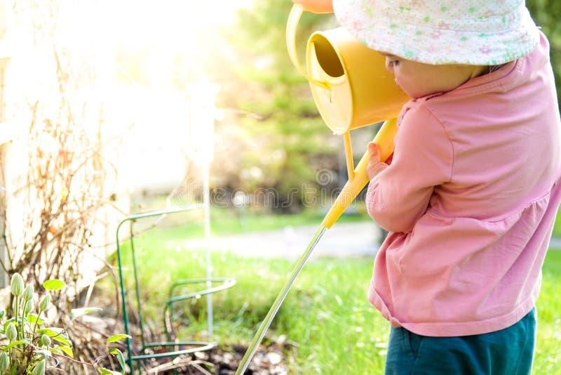Bewässerungsblumen eines kleinen Babys mit einem gelben Wasserpitcher stockfotografie