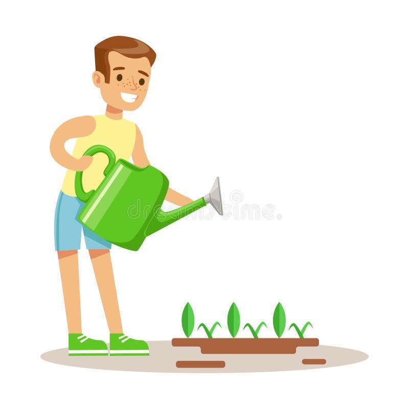 Bewässerungsgartenpflanze Little Boys mit Gießkanne, Teil Großeltern, die Spaß mit Enkelkind-Reihe haben lizenzfreie abbildung