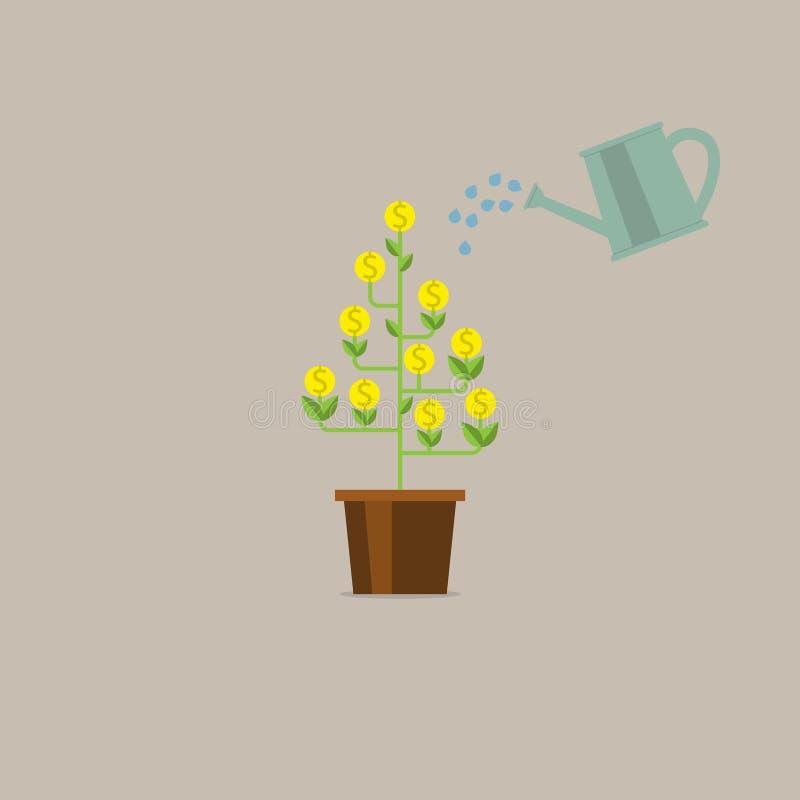 Bewässerungsgeldbaum Geld, das auf Baum wächst Geldmengenwachstum, Geld verdienend, Investition, Gewinn, Finanzverwaltungskonzept vektor abbildung