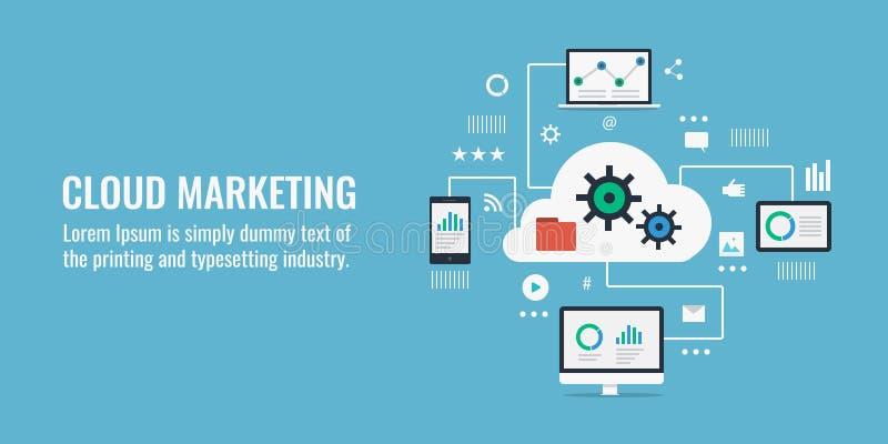 Bewölken Sie Datenverarbeitungs, digitales Marketing und Datenanalytikkonzept Flache Designvektorillustration lizenzfreie abbildung