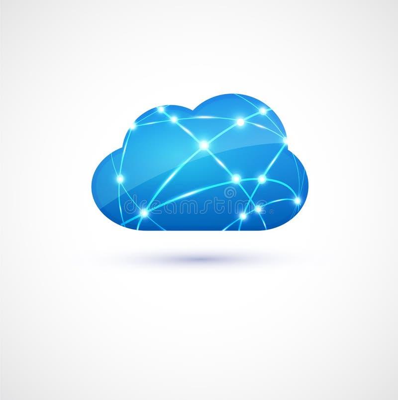 Bewölken Sie die Datenverarbeitung mit Netzlinie Konzept, Vektor u. Illustration lizenzfreie abbildung