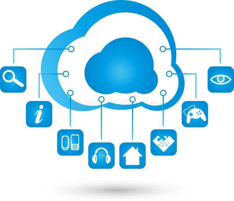 Bewölken Sie die Datenverarbeitung, Wolke, Internet, APP, Illustration lizenzfreie abbildung