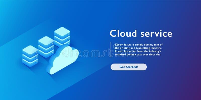 Bewölken Sie Dienstleistungen Konzept, Datenbank und datacenter Ikone, Dateiunterstützung und Einsparung, Kopie des isometrischen stock abbildung
