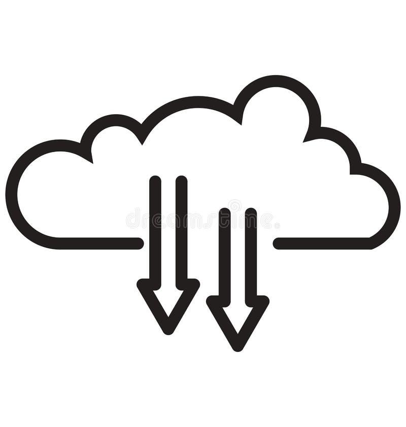 bewölken Sie Downloading, kann Wolkennetzlinie lokalisierte Ikone leicht geändert werden und redigieren stock abbildung