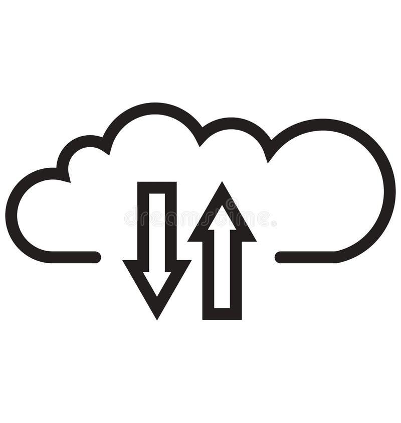 bewölken Sie Downloading, kann Wolkennetzlinie lokalisierte Vektorikone leicht geändert werden und redigieren stock abbildung