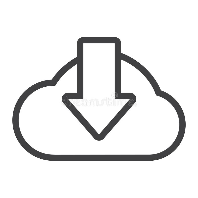 Bewölken Sie Downloadlinie Ikone, seo und Website lizenzfreie abbildung