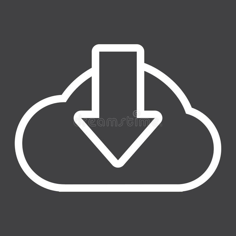 Bewölken Sie Downloadlinie Ikone, seo und Website stock abbildung