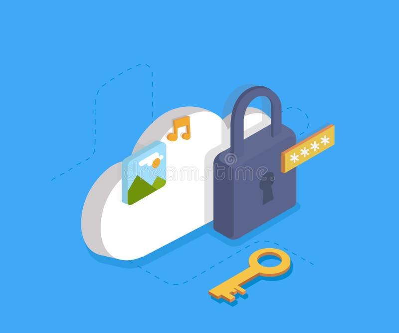 Bewölken Sie Identitäts-Sicherheits-Konzept, Datenschutz, Internet-Sicherheit Isometry Illustration des Vektors 3d stock abbildung