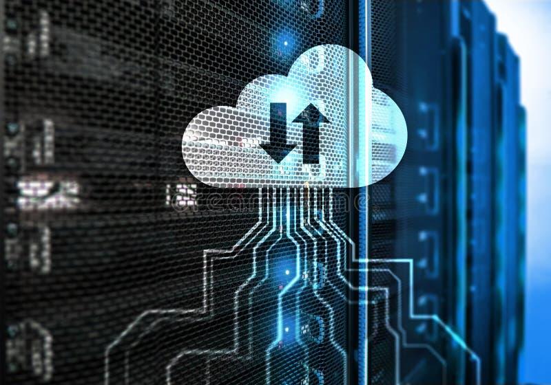 Bewölken Sie Server und Datenverarbeitung, Datenspeicherung und Verarbeitung Internet und Technologiekonzept stockbild