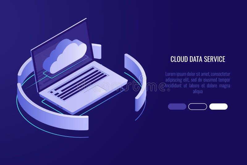 Bewölken Sie Serverfahne, Laptop mit isometrischem Vektor der Wolkenikone vektor abbildung