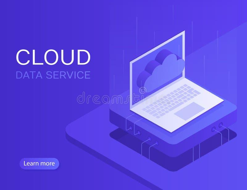 Bewölken Sie Serverfahne, Laptop mit Wolkenikone Moderne Vektorillustration in der isometrischen Art lizenzfreie abbildung
