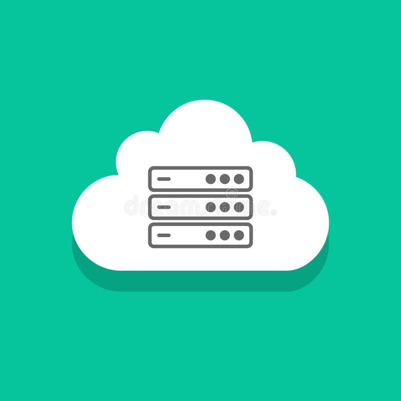 Bewölken Sie Servertechnologieikone, Zeichen des Datenverarbeitungsnetzes des Konzeptes, Rechenzentrum lizenzfreie abbildung