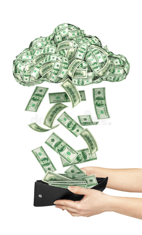 Bewölken Sie sich mit Geld, schwarzer Geldbeutel mit Geld in Frau ` s Hand stockfoto