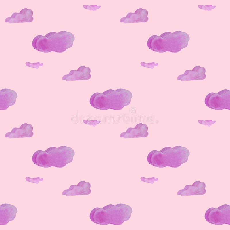 Bewölkt Aquarell seamleass Muster für textyle, Hintergründe, Netz, Tapete, Beschaffenheit in der rosa Farbe vektor abbildung