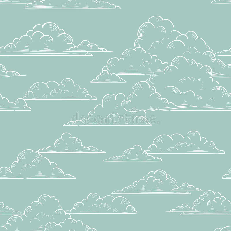 Bewölkt das nahtlose von Hand gezeichnete Muster stock abbildung