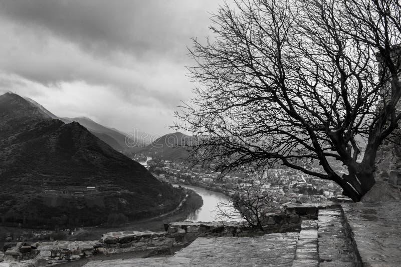 Bewölkte Berglandschaft Bw mit Baum, Fluss und Stadt Mtskheta stockfoto