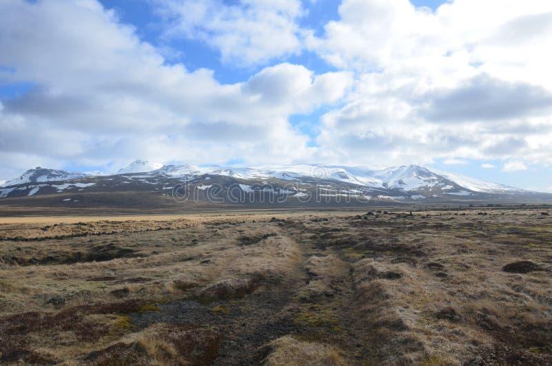 Bewölkte Himmel über Snaefellsjokull-Gletscher in Island lizenzfreies stockbild