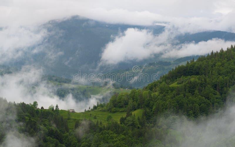 Bewölkte ländliche Berglandschaft mit Sommer-Morgen-Nebel in Matisesti-Bereich Nationalparks Apuseni, Rumänien Sch?ne Landschaft stockfotografie