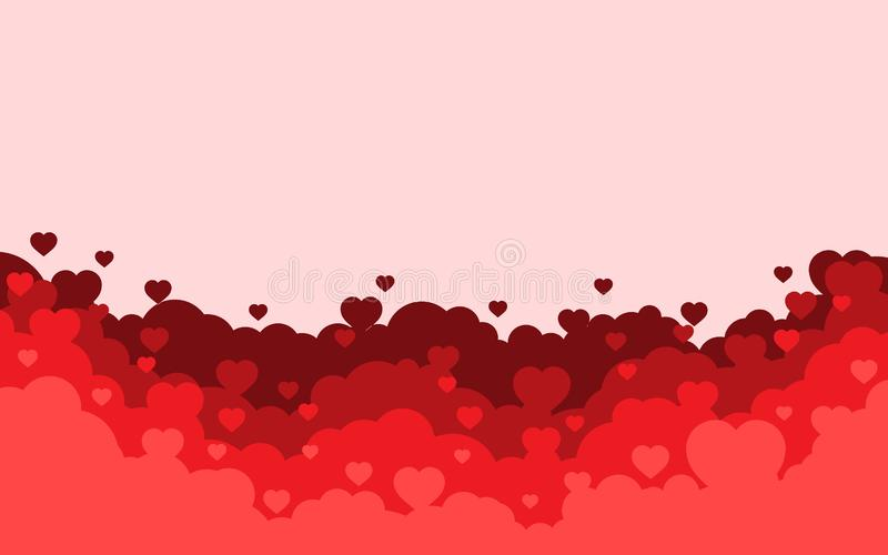 Bewölkter Himmel mit rotem Herzhintergrund Valentinsgru?tagesfeiertagskarte Flaches Artdesign der Karikatur Auch im corel abgehob lizenzfreie abbildung