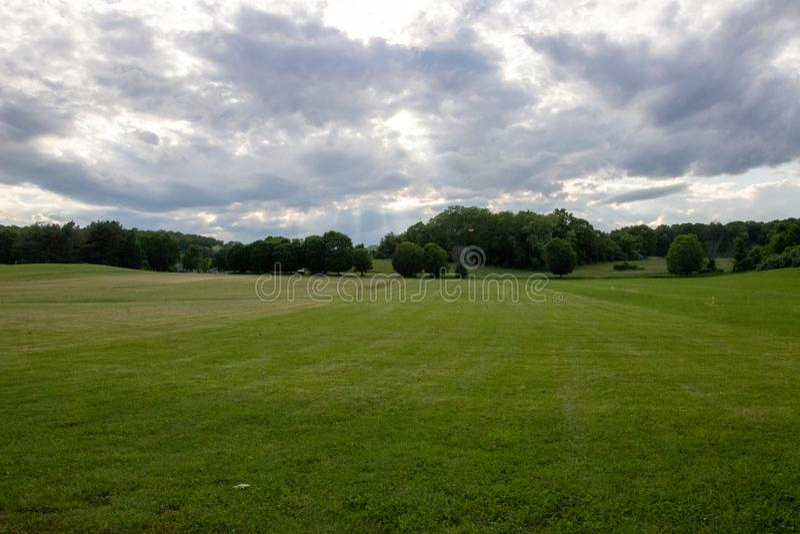 Bewölktes grünes Feld stockbilder