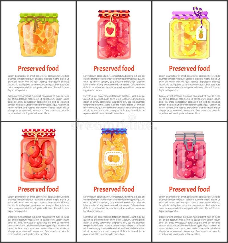 Bewaarde Fruit en Groenten Geplaatst Vectorpictogram vector illustratie