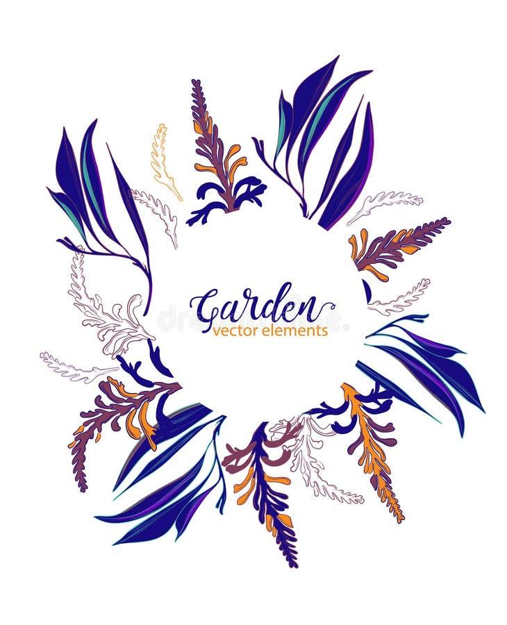 Bewaart het contrastfloral kader van de huwelijksmarine de datum Van tuinbloemen en bladeren illustratie Vector botanische kroonr stock illustratie